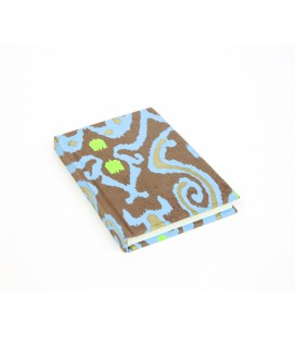 Small hard cover brown and blue notebook