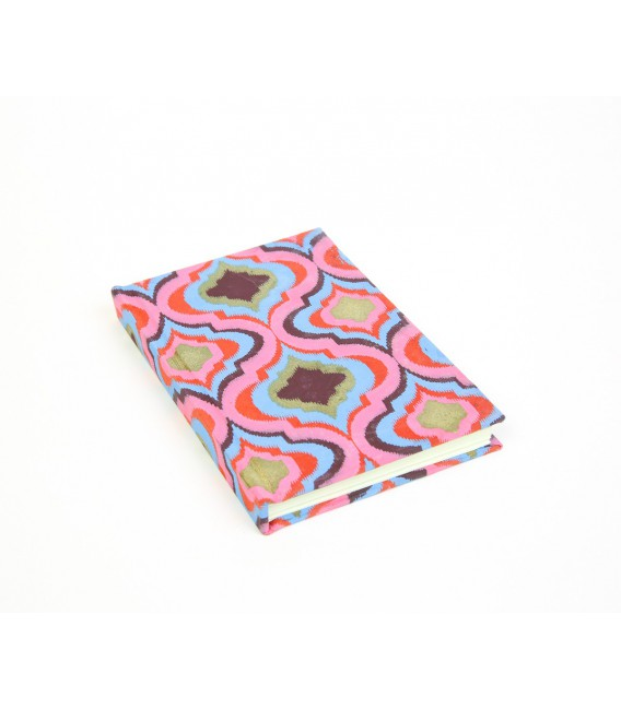 Small hard cover pink and blue notebook