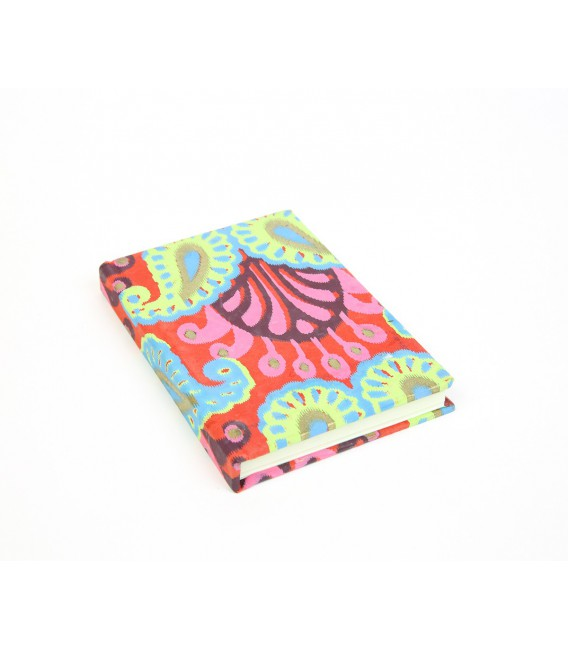 Small hard cover pink and green notebook