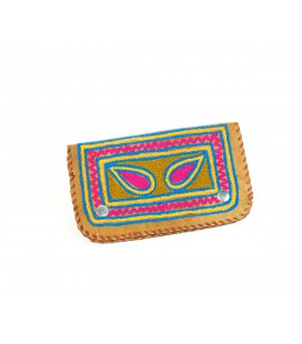 Embroidered camel leather wallet