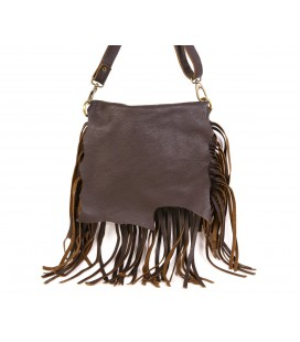 Large fringed leather bag