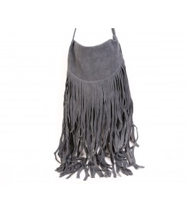 Large fringed nobuck leather bag