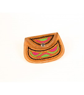 Camel leather coin purse