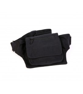 Square black cotton waist bag