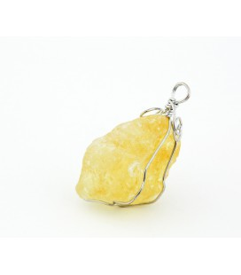 Unpolished citrine quartz crimped dangler