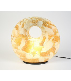 Large golden donut mosaic lamp