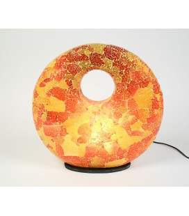 Large yellow red donut mosaic lamp