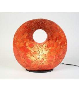 Large red donut mosaic lamp