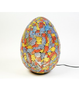 Large multicolored egg mosaic lamp