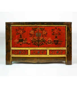 Yellow Tibetan low cabinet