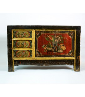 Red yellow Tibetan cabinet
