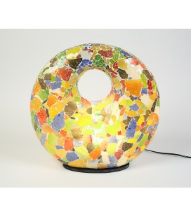 Large multicolored donut mosaic lamp