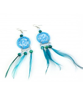 Sky blue dreamcatcher long earrings with feathers