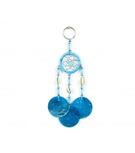 Sky blue dreamcatcher keychain with nacre circles