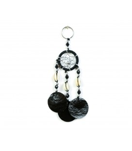 Black dreamcatcher keychain with nacre circles