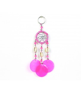 Pink dreamcatcher keychain with nacre circles