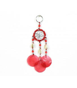 Red dreamcatcher keychain with nacre circles