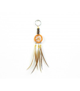 Orange dreamcatcher keychain with wood
