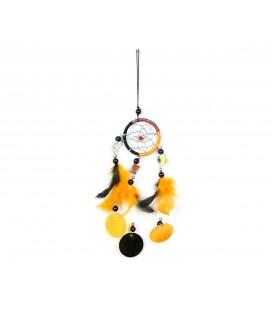 Cazasueños naranja y negro con espejos y círculos de nácar