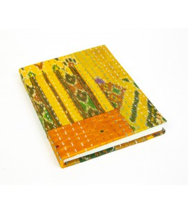 Large yellow patchwork notebook