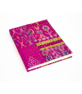 Large pink patchwork notebook
