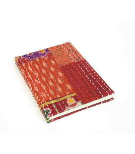 Medium red patchwork notebook