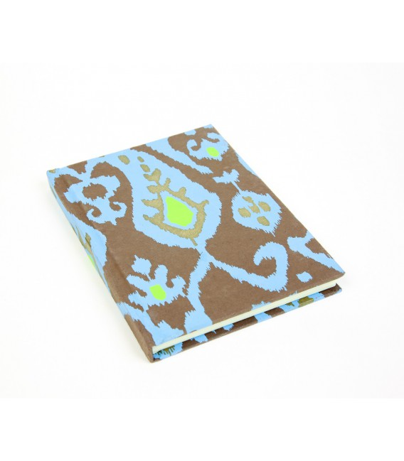 Large brown and blue hard cover notebook